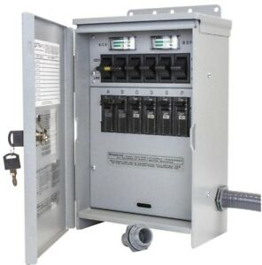 Reliance Generator Outdoor Transfer Switch R306a 7500 watt 30 Amp 6 circuit