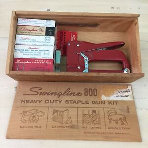 Swingline 800 Vtg Heavy Duty Staple Gun Kit Wood Box 5 Sizes Must See
