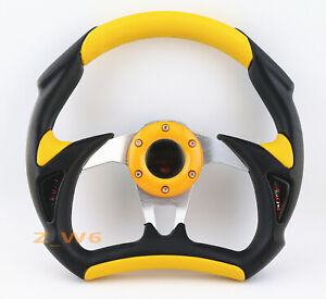 Flat Dish 320mm Jet Style 6 Hole Leather Racing Jdm Steering Wheel Horn Yellow