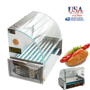 Commercial 18 Hot Dog Hotdog 7 Roller Grill Cooker Machine W Cover Reliable
