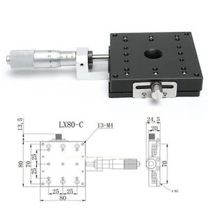 X axis 80x80m Precision Micrometer Manual Cross Rail Linear Stage Slider Bearing