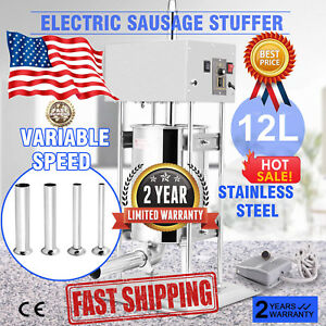 Sausage Stuffer 12l Stainless Steel 28lbs High Torque Commercial Electric Us