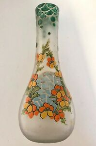 Legras Art Glass Vase France Signed Beautiful Design Acid Enamel Antique