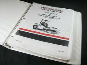 Ingersoll Rand Sd70 Pro Pac Vibratory Compactor Drum Roller Parts Manual Sd 70
