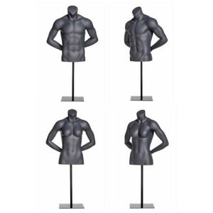 Male And Female Torso Fiberglass Athletic Headless Mannequin Set group Of 2