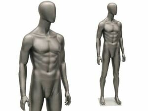 Male Full Body Mannequin Egg Head Matte Grey