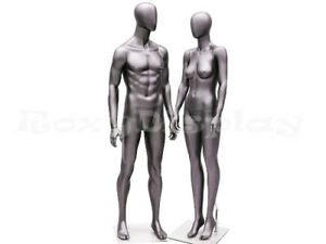 Male And Female Full Body Mannequins group Of 2 Matte Grey silver