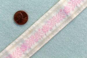 Vintage Antique Embroidered Pink Ribbon Braid Trim Floral Brocade Ribbon 1 Yd