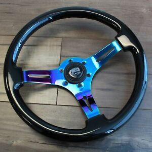 350mm Universal Deep Dish Neochrome Black Steering Wheel Kdm Jdm Tuner 6 Hole
