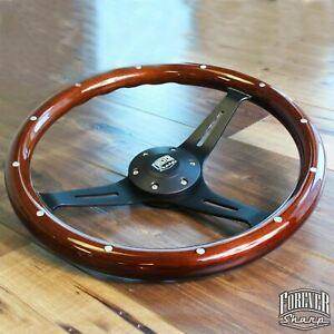 15 Inch Matte Black Steering Wheel Riveted Wood Grip 15 6 Hole Chevy Gmc