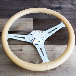 15 3 Spoke Tan Leather Chrome Steering Wheel 6 Hole Hot Rod Ford Chevy Truck
