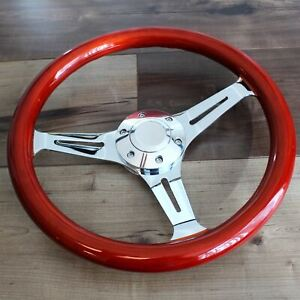 14 Slotted 3 Spoke Steering Wheel Wood Grip 6 Hole Hot Rod Chevy Ford Gmc