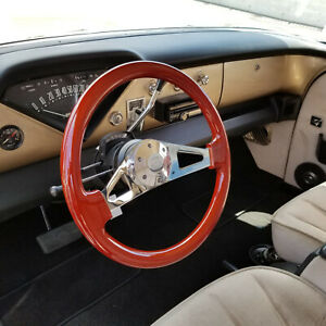 15 Inch Polished Steering Wheel Wooden Grip Forever Sharp Horn Button 6 Hole