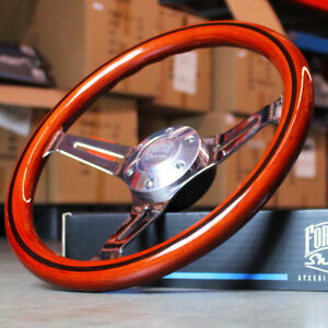 14 Inch Light Wood chrome Car Steering Wheel Striped 6 Hole Muscle Classic
