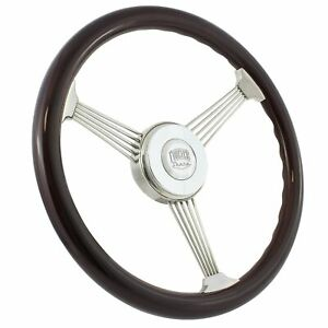 15 Inch Real Wood Stainless Steel Banjo Steering Wheel Horn Kit Chevy More
