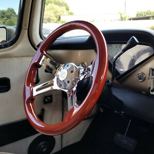 15 Classic Chrome Steering Wheel Wood Grip And Horn 4 Spoke