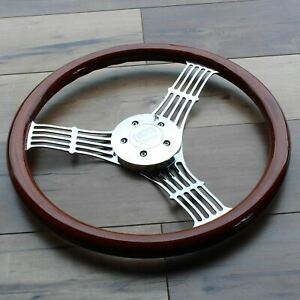 18 Chrome Wood Banjo Steering Wheel Freightliner Kenworth Peterbilt Mack