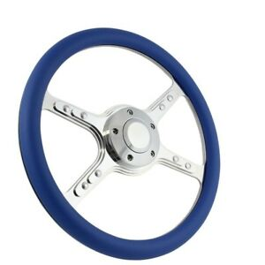 14 Universal Polished Steering Wheel Ford Chevy Muscle C10 Half Wrap Hot Rod