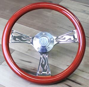 14 Inch Red Wood Flame Steering Wheel Hot Rod Truck Classic Muscle Usa 5 Hole