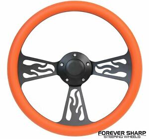 14 Black Aluminum Orange Flame Steering Wheel To 3 Bolt Grant Adapter Column