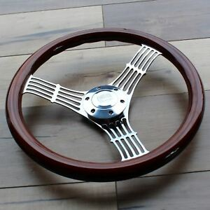 380mm Chrome Banjo Steering Wheel Dark Wood Grip 15 6 Hole Chevy Gmc C10
