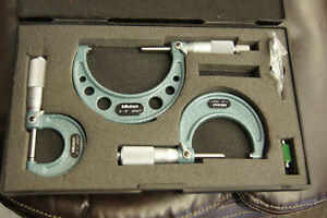Set Of 3 Mitutoyo Micrometers 0 3 With Case Mk 13