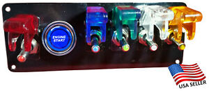 12v Switch Panel Black Powder Coat 5 Multicolored Switches Blue Push Start