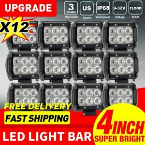 4 inch Cree Led Work Light Flood Beam Offroad Led Pods For Atv Jeep Ute 12pcs