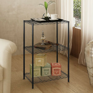 Wire Shelving Unit 3 Shelf Metal Storage Rack Durable Organizer 3 Tiers Shelf