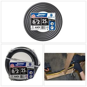 Stranded Romex Simpull Southwire 25 Ft 8 2 Black Cu Nm B Cable Indoor Gauge New