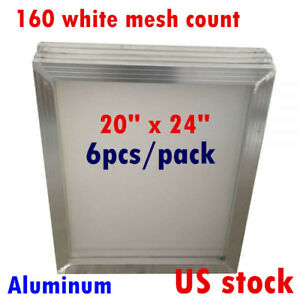 Us 20 X 24in Aluminum Frame Printing Screens With 160 White Mesh Count 6pcs