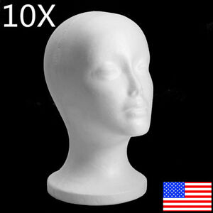 10xfemale Styrofoam Mannequin Manikin Head Model Foam Wig Glasses Display