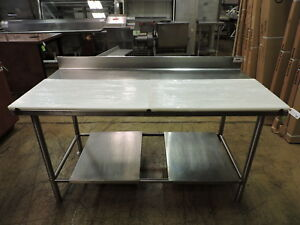 Commercial Stainless Steel Work Table W Partial Poly Top Removable Bottom