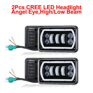 2pc 4 x6 White Cree Led Light Drl Crystal Clearence Hi lo Beam Headlight Sealed
