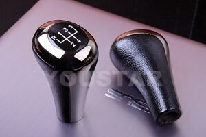 Deluxe 5 Spd Manual Gear Shift Knob For Bmw Leather Shadow Chrome Gunmetal 84 On