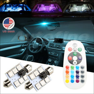 2 rgb Led Remote Festoon 1 72 16colors Bulbs 41mm 42mm Map Dome Interior Lights