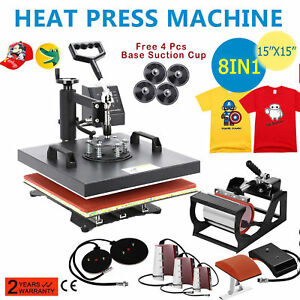 Heat Press Machine 15 x15 8 In 1 Dual Digital Transfer Sublimation T shirt Mug