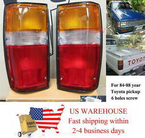 Pair Tail Lights Rear Lamp Bulb For Toyota Hilux Ln50 Pickup Truck 84 88 4runner