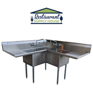 Commercial 3 Compartment Stainless Steel Corner Sink 18 x18 Nsf Cert Combo