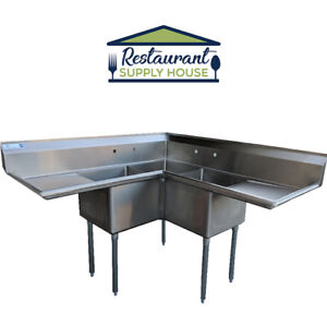 Commercial 3 Compartment Stainless Steel Corner Sink 18 x18 Nsf Certified