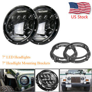 Pair 7 Round 75w Led Headlights ring Mounting Brackets For Jeep Wrangler Jk Tj