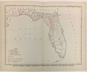 Florida Map 1904 Us Geological Survey Charles Doolittle Walcott