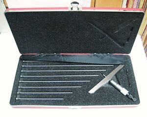 New Starrett Depth Gauge 445bz 9rl 4 Inch Base Rods 0 9 Free Ship In Box