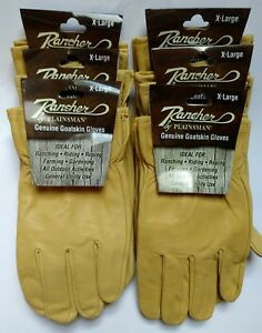 6 Pairs Rancher By Plainsman Goatskin Leather Wholesale Work Gloves Ex Large