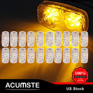 20x Trailer Side Marker 4 x2 Double Bullseye Clear Amber 12led Clearance Lights