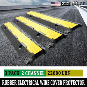 2 Channel Rubber Electrical Wire Cable Cover Ramp Guard Warehouse Cord Protector