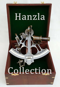 Vintage Heavy German Working Sextant 9 Marine Nautical Collectible With Wood Box