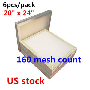6pcs 20 X 24 Aluminum Printing Screens Frame With 160 White Mesh Count Usa