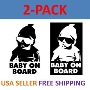 2 Pack Baby On Board Carlos Funny Hangover Car Truck Window Sticker Vinyl Decal
