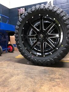 22x10 Fuel Maverick D538 Black Wheel Tire Package 35 Mt 8x180 Chevy Gmc 8 Lug